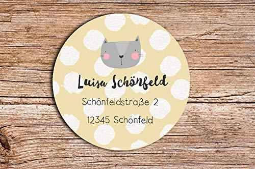 48 x Personalisierte Adress Aufkleber Katze Cat Wunschdruck Aufkleber matt 4cm Etiketten Geschenkaufkleber