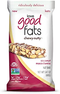 Love Good Fats - Chewy-Nutty Coconut Macadamia Keto Bars - Vegan Protein Bars with Natural Ingredients - Gluten-Free, Low Carb Ketogenic Bar with 9g of Protein and Coconut Oil - 12 Count (39g Bars) …
