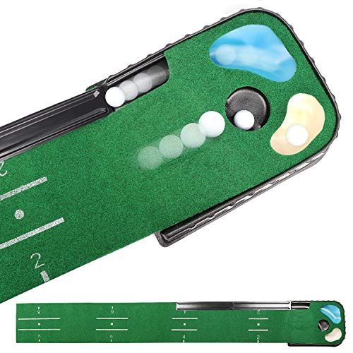 Champkey PUTTECH Hazard Golf Putting Mat - True Roll Surface & Non Slip Bottom Golf Putting Green - Bunker & Water Hazard for Accuracy Training - Ideal Gift for Home, Office, Outdoor Use