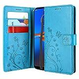 CMID Motorola Moto E6 Plus Hülle, Ständer PU Leder Brieftasche Handytasche Flip Bookcase Schutzhülle Cover mit Handschlaufe für Moto E6 Plus (Blau)