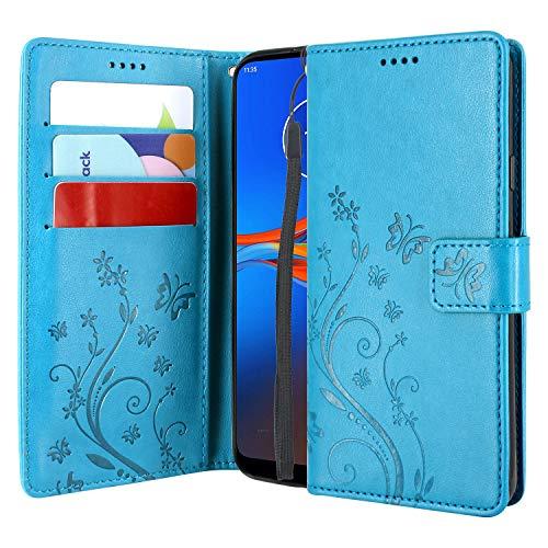 CMID Funda Motorola Moto E6 Plus, Funda Moto E6+ Plus, PU Cuero Libro Billetera Tapa Antigolpes Protective Cartera Carcasa Case con Función de Soporte para Motorola E6 Plus (Azul)