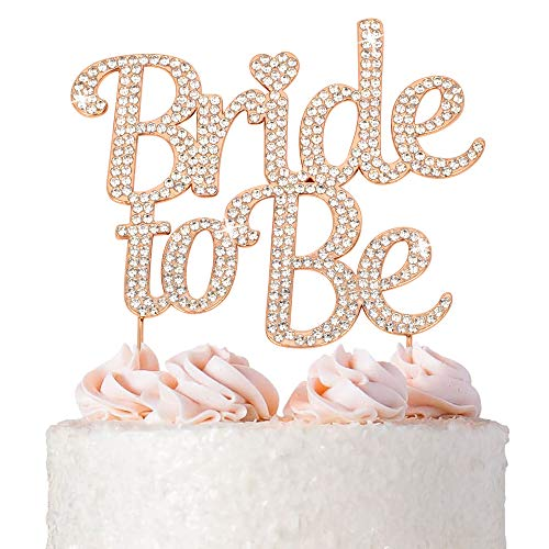 Bride to Be Cake Topper - Premium Rose Gold Metal - Sparkly Bridal Shower or Bachelorette Party Cake Topper - Now Protected in a Box