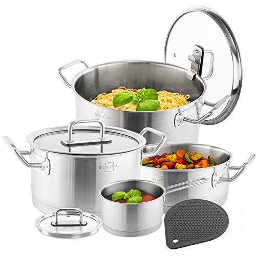 SILBERTHAL Bateria de cocina acero inoxidable | Set 4 cazuelas de cocina inducción con tapas de cristal | Juego de ollas cocina