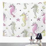 Y·JIANG Tapiz colorido, caballitos de mar y estrellas de mar, diseño abstracto de animales de dibujos animados, bonito tapiz decorativo para el hogar, dormitorio o sala de estar, 203 x 152 cm