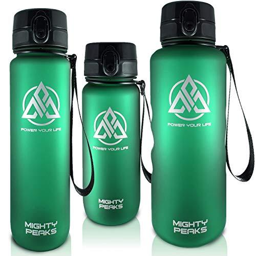 MIGHTY PEAKS Tritan Sport-Trinkflasche 1l BPA frei Wasserflasche 1liter, Green, Grün, Trinkflasche Kinder, Plastik-Flasche 1l Sportflasche für Fahrrad, Basketball, Fußball, Kinder