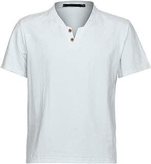T Shirt for Men Casual Short Sleeve Beachwear Tanks T-Shirt Tops Slim Fit Shirt Linen Blouse