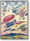 Cartel de viaje vintage Ilustración de dibujos animados Apertura del Canal de Panamá Avión de globo de aire Cuadro de arte de pared antiguo Impresión de lienzo Pintura-40x60cm Sin marco