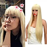 Kalyss 28 Inch Women's Long Straight Premium Yaki Synthetic Blonde Full Hair Wig with Hair Bangs