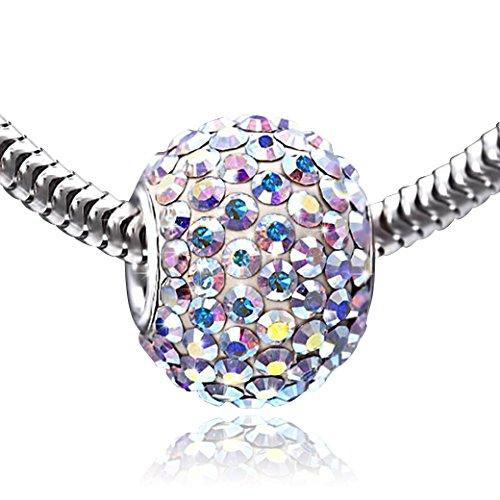 MATERIA 925 Silber Beads Kristall Anhänger XXL rosa 12x16 - Strass Kettenanhänger Kugel rosa regenbogen #1214