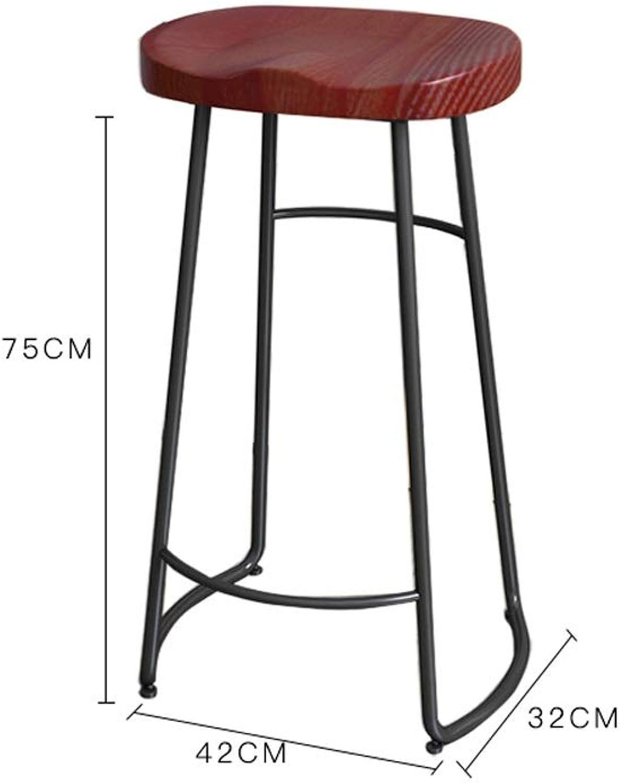 Creative Solid Wood Counter Stool Nordic Coffee Chair bar Chair Fashion bar Stool Suitable for Living Room Club SUGEWANJBD (color   Black Shelf, Size   75cm)
