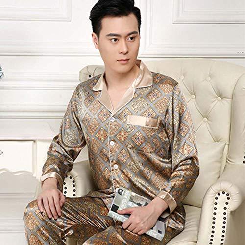 ZWLXY Conjuntos de Pijamas de Manga Larga de satén para Hombres Conjuntos de Pijamas de Seda Pijama de Dos Piezas Pijama de Talla Grande,c,M