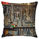 Man Cave Decor Vintage Tools Hanging On A Wall In A Tool Shed Workshop Fixing Equipment Multicolor Fashion Pillow 18inch*18inch,Pillowcase Decorative Square Sofa Bedroom Car - No Inserts Included