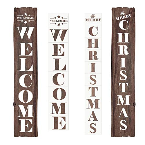Large Welcome Christmas Painting Stencils for Painting on Wood - 18 Pcs Vertical Reusable Merry Christmas Sign Drawing Stencil Templates for Porch Signs, Front Door Decorations, Glass Door