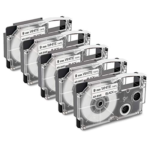10X kompatibles Casio XR-12WE schwarz auf weiss mit Kassette 12mm KL-60 KL-120
