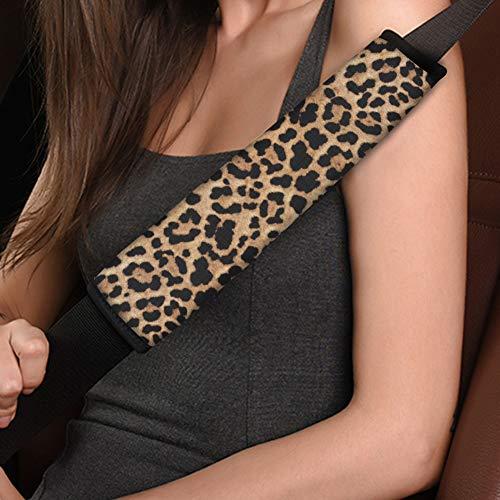 Amzbeauty Fundas protectoras para cinturón de seguridad de coche, diseño de leopardo, color negro, para cinturón de seguridad, universal, ajuste suave, para la mayoría de camiones, SUV, aviones