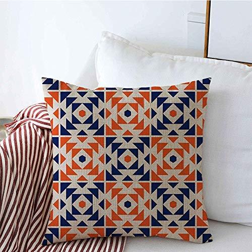 GWrix Dekorative Kissenbezüge Blau Portugal Azulejos Artwork Architecture Design Inspiriertes Muster Abstrakte Texturen Fassade Farbe Quadratischer Kissenbezug für Couchsofa
