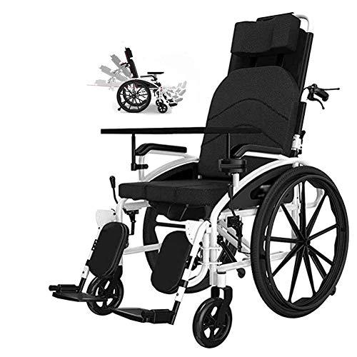DGPOAD Rollstuhl,für ältere und behinderte Menschen, Selbstfahren, aus Stahl, Leichtgewicht, Pflegerollstuhl mit Liegefunktion, Beinstütze, Kopfstütze, Sitzbreite 47 cm