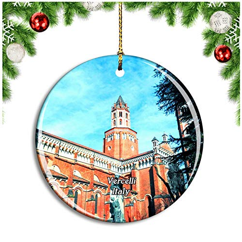 Weekino Vercelli Italy Basilica di Sant'Andrea Christmas Ornament Xmas Tree Decoration Hanging Pendant Travel Souvenir Collection Double Sided Porcelain 2.85 Inch