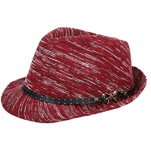 Demarkt Eleganter Jazz Hut Filzhut Fischerhut Damenhut mit breiter Sonnenschutz schönes Geschenk für Damen Weinrot