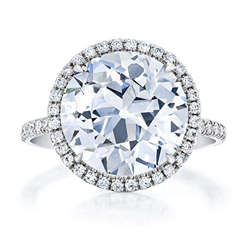 Bhumi Gems 5CT Round OEC Colorless VVS1 Moissanite Engagement Ring for Women, Wedding Ring, Halo Ring, Solitaire Ring for Gift, Anniversary Promise Ring, Moissanite Ring, (6.5)