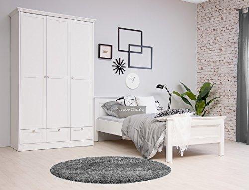 expendio Jugendzimmer Landström 161 weiß 3-teilig Bett 90x200 Schrank Nachttisch Schlafzimmer Landhausmöbel