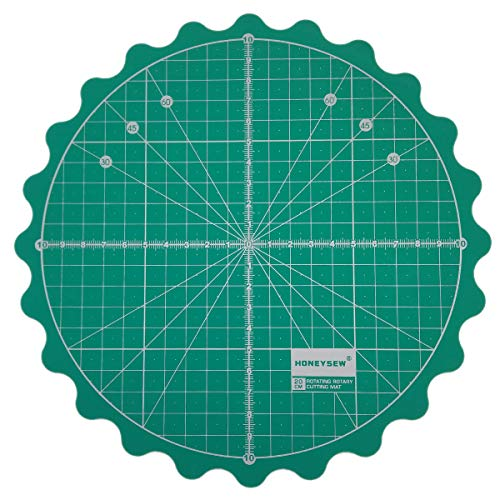 "HONEYSEW Circle Rotary Cutting Mat Diameter 20cm(8"") Self Healing for Any Table Protection Board Quilt Fabric Doing Crafts Sewing Quilting Projects Rotating Cutter Pad (Green Color)"