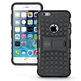 iPhone 6 Plus Case Black - Case for iPhone 6 Plus/iPhone 6S Plus Cases (6+ ONLY) Thin Tough Rugged Shockproof Dual Layer Hybrid Hard/Soft Slim Protective Cover (5.5 inch) by Cable and Case - Black