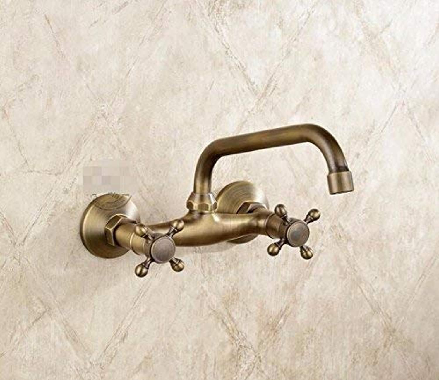 Oudan Antique Sink Mixer Tap Bathroom Wall Mounted Double Double Hole Antique colora