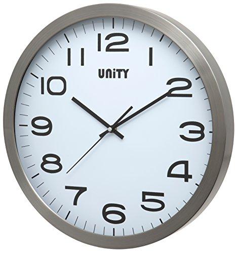 Unity Orologio da Parete in Metallo Manhattan, Argento, 40 x 40 x 3 cm