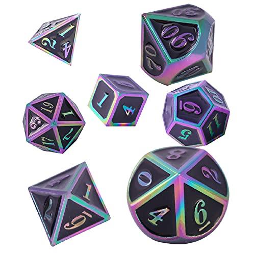 Schleuder Juego de Dados de Dungeons and Dragons de 7 Piezas, Dados de Metal Poliédrico, Juegos de rol de Mesa, Mazmorras y Dragones, Enseñanza de Matemáticas. (Colorful - Black)