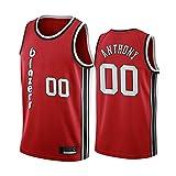 SHR-GCHAO Jersey De Baloncesto para Hombres - NBA Portland Trail Blazers # 00 Carmelo Anthony Fans Jersey - Camiseta Transpirable Y Resistente Al Desgaste,Rojo,M(170~175cm)