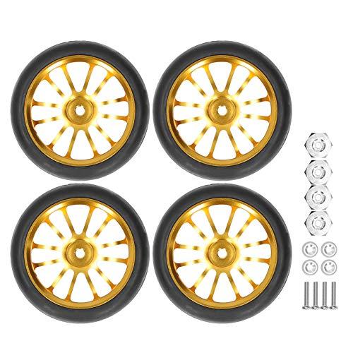 Neumáticos de Goma para Coche RC de 4 Piezas con Adaptador, con Llantas de 6 radios para Coche de Control Remoto / Modelo de Coche para WPL D12 RC Truck 63MM Gold