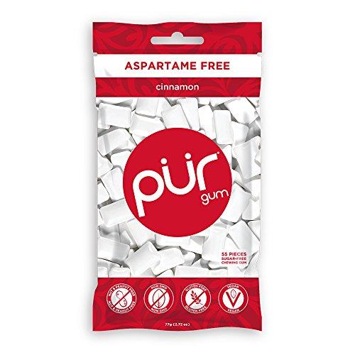 PUR 100% Xylitol Chewing Gum, Cinnamon , Sugar-Free + Aspartame Free, Vegan + non GMO,, 55 Count (Pack of 1)