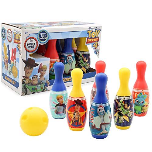 Juego de Bolos para niños de Forky, de la película Toy Story 4. Incluye 6 Bolos y 1 Bola. Juegos de jardín para niños