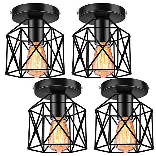 4 Pack Industrial Vintage Ceiling Light Fixture, E26 Metal Rustic Cage Light Fixtures, Semi Flush Mount Ceiling Light Fixture for Hallway Farmhouse Porch Stairway, Black