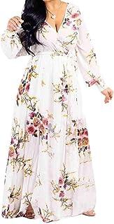 CRYYU Womens Floral Print Lace-Up Boho Print Plus Size Chiffon Beach Evening Party Maxi Dress