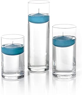 Yummi Set of 18 Floating Candles and Cylinder Vases - Turquoise