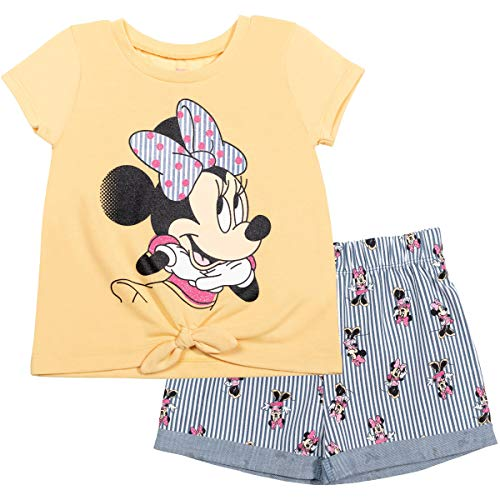Disney Minnie Mouse Toddler Girls Tie Knot T-Shirt Shorts Set Yellow 3T