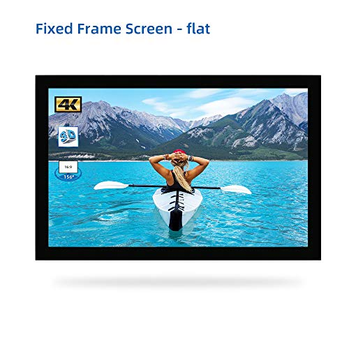 """SCREENPRO Projection Screen 100inch Fixed Frame Screen Home Theater Screen 100"""" Diagonal 16:9 4K Ultra HD 3D Ready Wall Mounting Projector Movies Screen for Home Theater Indoor (16:9, 100"""", 60mm Fram"""
