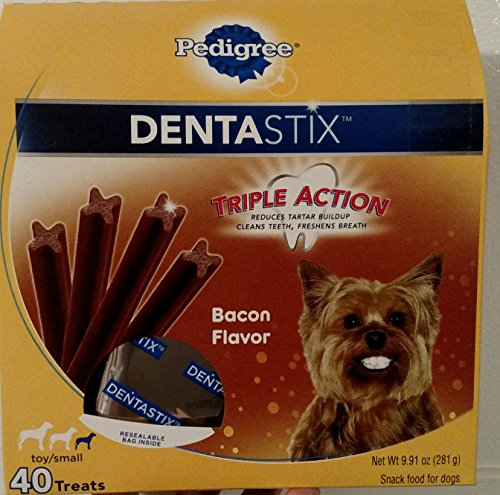 Dentastix Dog Treats for small / toy sized dog snacks / 40 count BIG box! Recommended 1x per day / Bacon flavor / Triple Action clean breathe for you small or toy sized dog. Did I mention BACON??!
