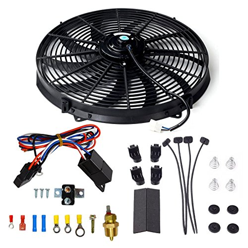 16 Inch Electric Radiator Cooling Fan Mounting Kit & 175-185 Degree Thermostat Relay Switch Kit Black