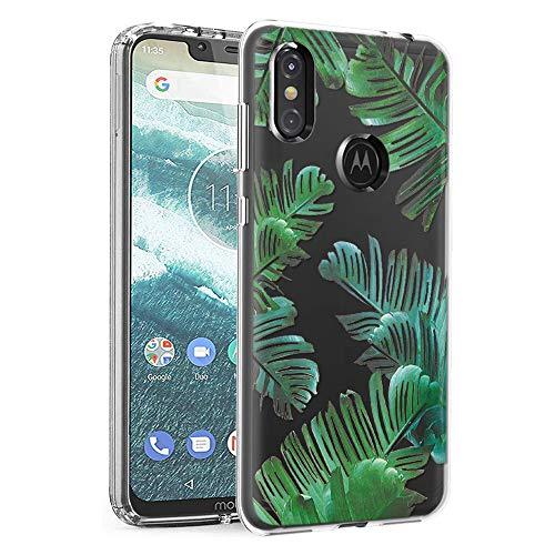 ZhuoFan Cover Motorola One, Custodia Cover Silicone Trasparente con Disegni Ultra Slim TPU Morbido Antiurto 3D Cartoon Bumper Case Protettiva per Motorola One Smartphone (Le Foglie)