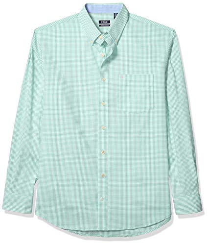 IZOD Men's Big & Tall Big and Tall Button Down Long Sleeve Stretch Performance Gingham Shirt, Dusty Jade Green, XX-Large
