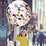 """36"""" Jumbo Confetti Balloons AOSTAR Pack of 5 Latex Balloons with Multicolor Confetti for Mother's Day, Wedding, Proposal, Birthday Party Decorations"""