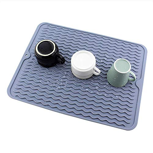 Aogbithy Large Silicone Dish Drying Mats with a Multifunctional Silicone Scrubber for Countertop, Heat Resistant Trivet, Draining Board Mat, Drainer Mat, Waterproof, Non-Slip (Grey)