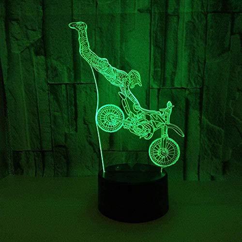 3D Led Light Illusion Stunt Motocicleta Regalo visual Lámpara de mesa pequeña Usb 7 Interruptor de color táctil
