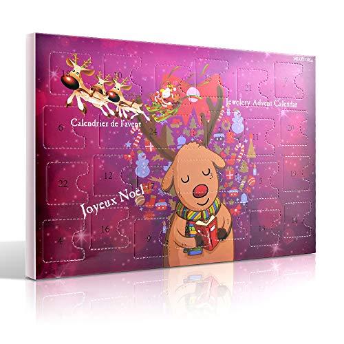 MJARTORIA Schmuck Adventskalender 2020 Weihnachtskalender Damen Kinder Mädchen Adventszeit mit 24 Überraschungen Kette Charms Anhänger Weihnachten Geschenk Lila Elche