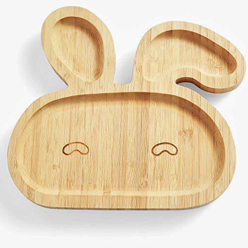 LMMJYF Bambusschalen-Set für Kinder im japanischen Stil mit Silikonlöffel für Babymahlzeiten-Hase_23 * 21 * 2