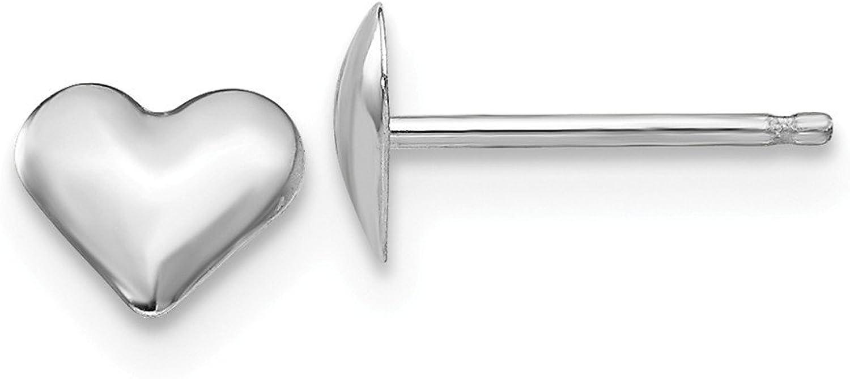 Beautiful White gold 14K 14k White gold Madi K Small Puffed Heart Earrings