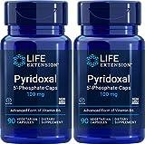 Life Extension Pyridoxal-5'-Phosphate Caps P5P 100 mg, 90 Veg Capsules (Pack of 2) - Advanced Vitamin B6 Supplement
